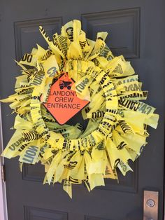 Construction Party Wreath / Dump Truck Party Wreath / Caution Tape Wreath by JennaMadeIt on Etsy https://www.etsy.com/listing/229666054/construction-party-wreath-dump-truck