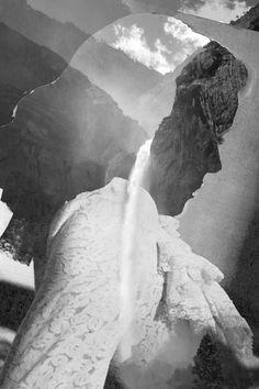 Collages de siluetas humanas y paisajes naturales,...   Manuel Vera