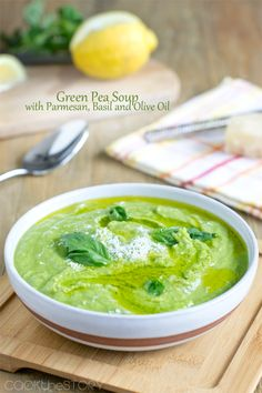 Green Pea Soup Recipe with Olive Oil and Basil http://www.cookthestory.com/2014/04/30/green-pea-soup-recipe/