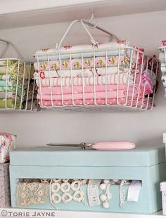 17 Fabulous Creative Storage Solutions For Your Studio Hanging Baskets with Fabric - If you're in need of craft storage ideas for your craft room then this list is exactly what you need to read! Sewing Room Organization, Craft Room Storage, Fabric Storage, Craft Rooms, Organizing Ideas, Bathroom Organization, My Sewing Room, Sewing Rooms, Space Crafts