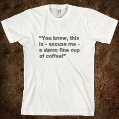 Hand-drawn 'Damn Fine Cup of Coffee'