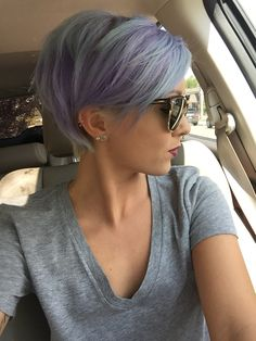Short pixie with pastel purple and blue