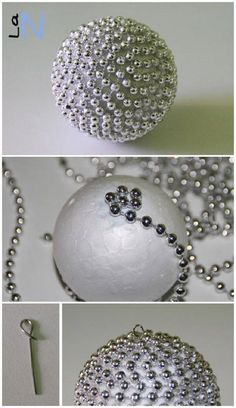20 lovely ideas to make yours for the Christmas tree – Ideas for DIY crafts - XMas Beaded Christmas Ornaments, Noel Christmas, Homemade Christmas, Christmas Spheres, Scandinavian Christmas, Modern Christmas, Handmade Ornaments, Christmas Projects, Holiday Crafts