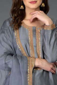 Best 12 Grey Marori and Sequin Work Farshi Palazzo Suit Pakistani Fashion Casual, Pakistani Dresses Casual, Pakistani Dress Design, Indian Dresses, Pakistani Suits, Punjabi Suits, Neck Designs For Suits, Designs For Dresses, Dress Neck Designs