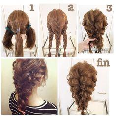 #hairarrenge * 簡単ダウンスタイル #アレンジ解説 * ①3つにブロッキングします * ②すべて編みこみから三つ編みにします * ③髪を所々引き出し3本の三つ編みをさらに三つ編みします *…