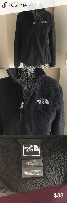 """North Face fuzzy fleece black zip up jacket This is a very comfy cute jacket that goes with just about anything. It's in nice condition, worn lightly but not as plush as it once was. Bust 40"""" length 22"""" north face Jackets & Coats"""