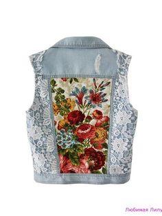 Light blue Denim vest embellished jacket white lace floral bouquet print  beaded vest XS S M Anna da Gala women s jean vest blazer handmade -  chryssafashion- ... 54fac2209aa