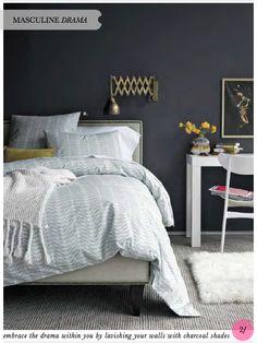 grey white bedroom yellow