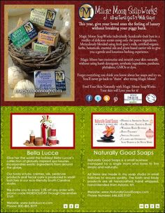 IBN's 2012 Handmade Holiday Holiday Gift Guide: Magic Moon SoapWorks, Bella Luccè, Naturally Good Soaps Holiday Gift Guide, Holiday Gifts, Best Soap, Organic Herbs, Handmade Soaps, How To Introduce Yourself, Moon, Magic, Pure Products