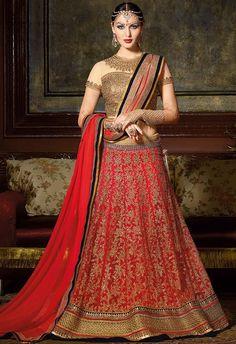Spectacular Vermilion Red #Bridal #Lehenga Choli