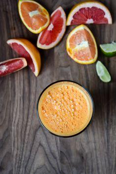Citrus Carrot Ginger Juice 1 grapefruit, peeled  1 orange, peeled  2 medium carrots, peeled  1/2 inch piece of peeled ginger  1/8 of a fresh lemon, peeled  squeeze of lime juice