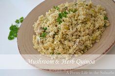mushroom & herb quinoa via a pretty life in the suburbs