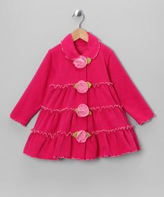 Take a look at this Hot Pink Tiered Ruffle Rosette Jacket - Girls by Mulberribush on #zulily today!