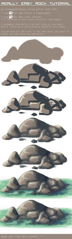 easy tutorial - drawing rocks by runawaywithyou. on easy tutorial - drawing rocks b Digital Painting Tutorials, Digital Art Tutorial, Art Tutorials, Drawing Tutorials, Drawing Ideas, Drawing Rocks, Painting & Drawing, Shading Drawing, Drawing Step
