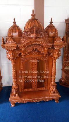 Mandir Design, Pooja Mandir, Home Temple, Wood Furniture, Beautiful Homes, Sweet Home, House Design, Wood Carvings, Hinduism
