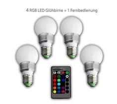 bd® 4 LED Glühbirne + 1 Fernbedienung Farbwechsel Leuchte, Lampe, E27 3W RGB LED-Lampe Bulb, LED-Glühbirne mit Magie Wireless Remote Control