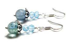 Blue Topaz Earrings Fluorite Earrings Sterling Silver by harmony5, $25.00 #topaz #earrings