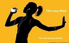 """Another silhouette ad from Apple, this one touting """"The new iPod -- The best just got better."""""""