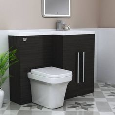 Calm Grey Right Hand Combination Vanity Unit Set with Toilet Combination Vanity Units, Bathroom Furniture, Basin, Faucet, Toilet, Bathtub, The Unit, Awesome, Amazing