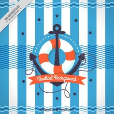 Anchor with life preserver background Free Vector