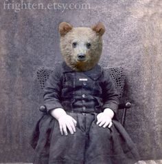 Bear Art Print Mixed Media Collage Print Charlie by frighten, $22.00