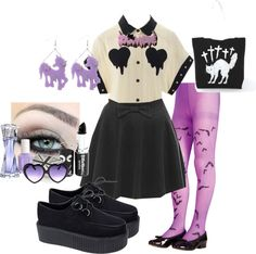 """Nu goth Lavender x Black"" by krissy ❤ liked on Polyvore"