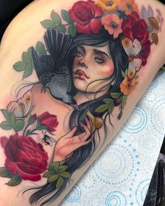 portrait tattoo sleeve woman roses / portrait tattoo with roses + portrait tattoo sleeve woman roses + portrait and roses tattoo + portrait roses tattoo + roses around portrait tattoo Elegant Tattoos, Gorgeous Tattoos, Great Tattoos, Rose Tattoos, Flower Tattoos, Body Art Tattoos, Tattoo Roses, Drawing Tattoos, Tatoos