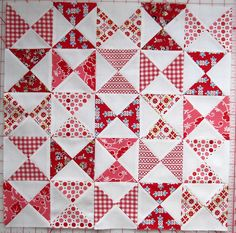 Red & White Hourglass blocks