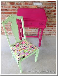 Watermelon pink table, mint floral chair