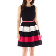 Tiana B. Sleeveless Colorblock Fit-and-Flare Dress  found at @JCPenney