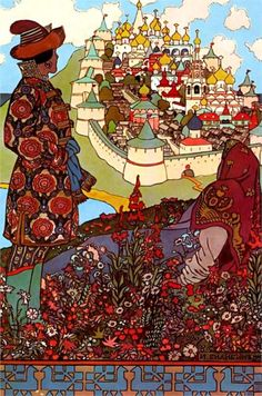 Illustration for Alexander Pushkin's 'Fairytale of the Tsar Saltan', 1905 - Ivan Bilibin - by style - Art Nouveau (Modern)