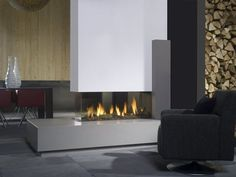 Contemporary 3 sided fireplace (gas closed hearth) - VIEW BELL  - ArchiExpo
