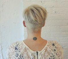 Blonde Pixie With Nape Undercut - Pixie Haircuts for Thick Hair – 50 Ideas of Ideal Short Haircuts - The Trending Hairstyle - Page 49 Blonde Pixie, Short Blonde, Pixie Haircut For Thick Hair, Haircut For Older Women, Short Hair Cuts, Short Hair Styles, Wavy Hair, Undercut Hairstyles, Pixie Hairstyles
