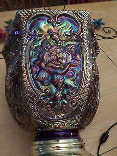 Vintage Falkenstein Blue Irredescent Carnival Glass Lamp