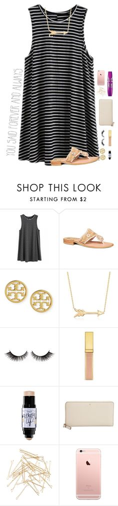 """ABC tag in D!!"" by mmprep ❤ liked on Polyvore featuring Jack Rogers, Tory Burch, Roberto Coin, Benefit, Kate Spade, Monki, Maybelline and ABCnames"