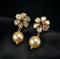 Rose cut diamond studded ear drop designed with south sea pearl drop ! Jewelry Design Earrings, Gold Earrings Designs, Small Earrings, Necklace Designs, Pearl Jewelry, Silver Jewelry, Silver Earrings, Silver Ring, Diamond Jewelry