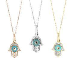 Tousi Jewelers Hamsa Hand Diamond Pendant of Judaica - Evil Eye Charm Necklace in 14k Gold - Pendant Hamsa Hand-Hamsa Hand Necklace