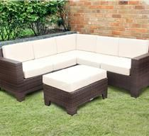 Modular Corner Rattan Sofa Set Brown