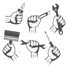 Buy Work Tools in Hands Set by VectorPot on GraphicRiver. Work tools in male hands monochrome set with brush pliers cutter and adjustable wrench isolated vector illustration. Car Logo Design, Badge Design, Handyman Logo, Bike Poster, Male Hands, Work Tools, Business Illustration, Vintage Labels, Vector Design