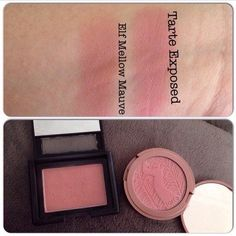 Tarte amazonian clay blush in Exposed, and ELF's Mellow Mauve.