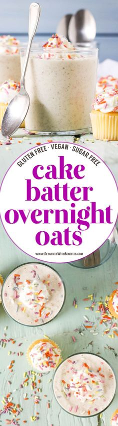 These Cake Batter Overnight Dessert Oats have all the flavor of cake, just in a healthier package! This easy overnight oats recipe is sweet and uber filling, yet sugar free, gluten free, dairy free, and vegan.