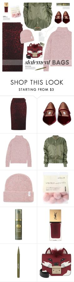 """Statement Bags"" by mylkbar ❤ liked on Polyvore featuring Tom Ford, Tabitha Simmons, J.Crew, MISBHV, Brixton, Jack Spade, Origins, Yves Saint Laurent, Stila and Furla"