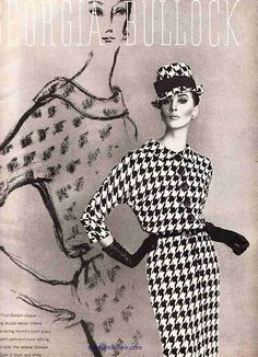 Vintage advertisement via Couture Allure. The bold houndstooth seems to be something of a classic in graphic vintage items. To me, the styling makes this one stand out. That and the juxtaposition with the illustration.