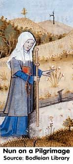 """Consider Pilgrims (Women in World History Curriculum) no source or date (prob. XVth), pinned for her interesting short """"travelling surcote"""" which reminds me of the short """"hunting surcotes"""" worn elsewhere by women (Taymouth, Queen Mary's Psalter)"""