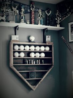 Baseball shelf in the shape of Home Plate .baseball decor with function.would do softball.would be perfect for when I do my bedroom softball! Purchased from scenicviewcreations on etsy. Baseball Shelf, Baseball Boys, Baseball Display, Boys Baseball Bedroom, Baseball Games, Softball Bedroom Ideas, Baseball Crafts, Tigers Baseball, Baseball Themed Bedrooms
