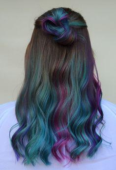 Cute Hair Colors, Hair Dye Colors, Cool Hair Color, Hair Colour, Mermaid Hair Brunette, Brunette Hair, Korean Haircut Long, Dye Hair, Hair Jewels