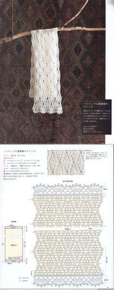 pretty Crochet Shawl Diagram, Crochet Lace Edging, Crochet Shawls And Wraps, Crochet Chart, Crochet Scarves, Diy Crochet, Crochet Stitches, Crochet Patterns, Crochet Curtains