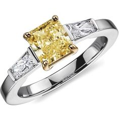 Blue Nile Fancy Yellow Three-Stone Diamond Ring in Platinum (1.51 ct. ($11,500) ❤ liked on Polyvore