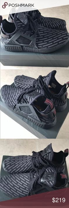 Adidas NMD xr1 pk triple black men size 12 Nmd triple black core red size 12 men authentic 100% from finish line come with original box and receipt Adidas Shoes Sneakers