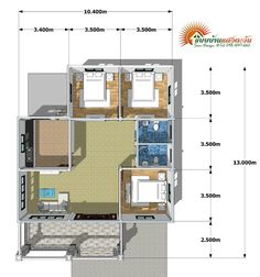 A single storey house is affordable. It also offers more flexibility as it can combine spaces that serve multiple functions. Four Bedroom House Plans, Family House Plans, Small House Plans, House Floor Plans, Simple Bungalow House Designs, Modern Bungalow House Design, One Storey House, 2 Storey House Design, Two Story House Design